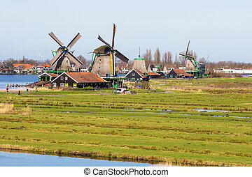 Panorama with windmill in Zaanse Schans, traditional...