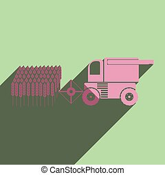 Flat icons with shadow of combine-harvester gathers the wheat