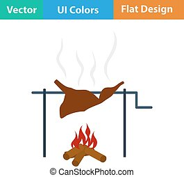 Flat design icon of roasting meat on fire in ui colors...