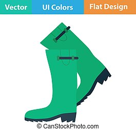 Flat design icon of hunters rubber boots in ui colors Vector...