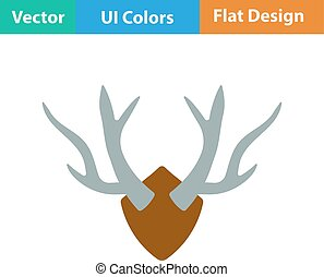Flat design icon of deers antlers in ui colors Vector...