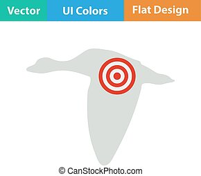 Icon of flying duck silhouette with target - Flat design...