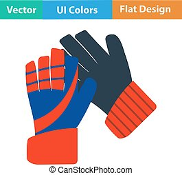 Flat design icon of football goalkeeper gloves in ui colors...