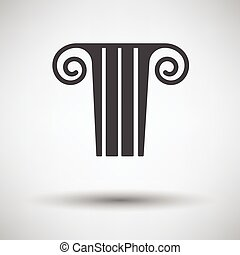 Antique column icon on gray background with round shadow...
