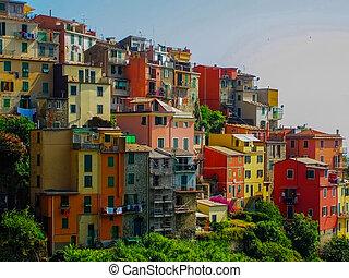 Village on Italian Coast - Village on Mediterranean Coast in...