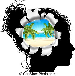 Dreaming of a Beach Vacation - A womans head in silhouette...