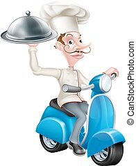Chef on Scooter Moped Delivering Food