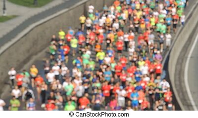 City half marathon blurred in Kiev, Ukraine