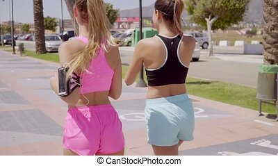Two fit shapely young women out jogging together along a...