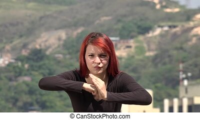 Young Redheaded Woman Practicing Martial Arts