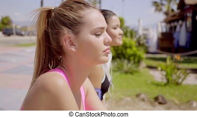 Pretty blond and her friend enjoy the sun - Pretty blond...