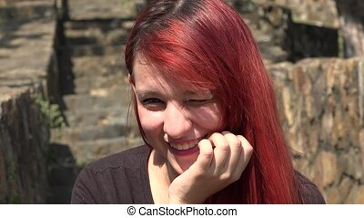 Adorable Smiling Female Teen Redhead