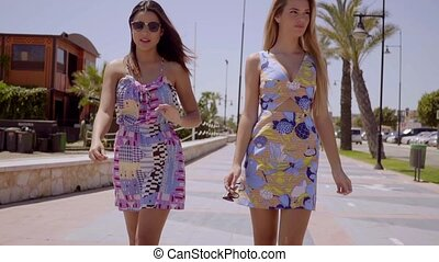 Two attractive women walking along a promenade in colorful...