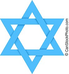 Blue star of David with shadow isolated on white