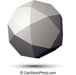 Vector digital 3d abstraction, geometric polygonal element. Spatial technological contrast spherical shape, three-dimensional object.