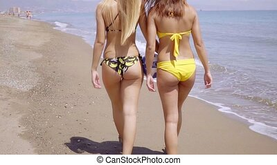 Two shapely young woman wearing bikinis walking away from...