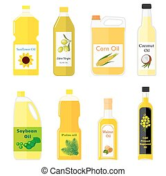 Group bottles of oil for frying - Vector set of pictures of...