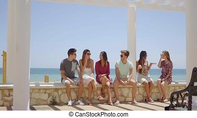 Group of friends sitting on stone wall near beach - Group of...