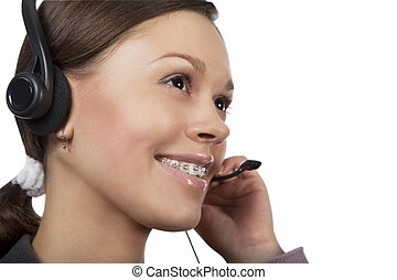 call center - young dark hair caucasian call center operator...