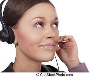 on line - young call center operator girl with pretty round...