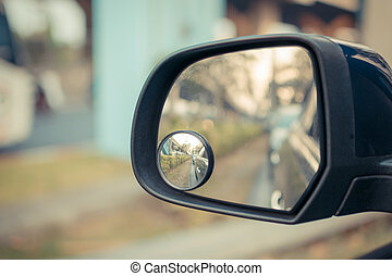 Car side mirror for rear view with traffic reflection...