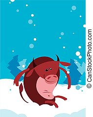 The Red Ox Bull whith winter background - The Red vector...