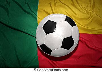 black and white football ball on the national flag of benin...