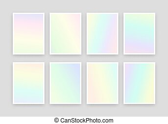Set 8 realistic holographic backgrounds in different colors...