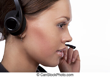 you may trust us - call center operator girl with dark hair...