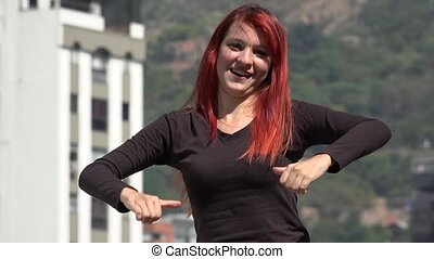 Redheaded Female Teen Hiphop Dancer