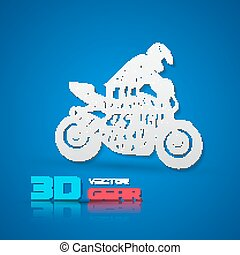 Flat lettering motorcyclist - Flat monochrome poster with...