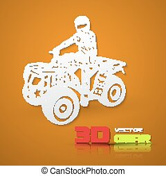 Flat lettering ATV - Flat monochrome poster with ATV...