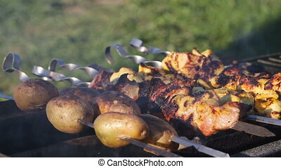 Shish kebab on skewers and potatoes cooked on the coals in...