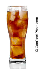 Glass of soda and ice on white background