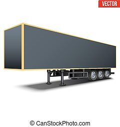 Blank black parked semi trailer - Blank parked van black...