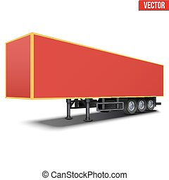 Blank red parked semi trailer - Blank parked van red semi...