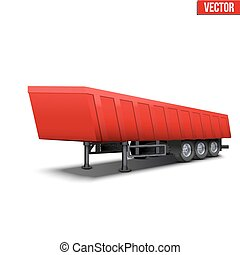 Blank parked red tipper semi trailer with canvas cover...