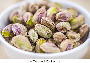 Pistachio Kernels as detailed close-up shot (selective...