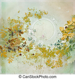 floral frame with empty space for writing - delicate floral...