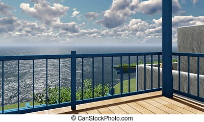 Balcony view of clouds over sea - Balcony view of timelapse...
