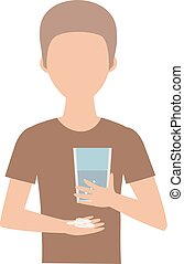 Suicide pills vector illustration - Teenage boy and pills...