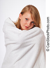 Teenage blonde girl in a bath towel - Pretty woman wrapped...
