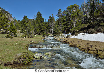 Alpine valley with a glacial torrent - In the upper part of...