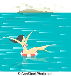 Retro poster with a girl floating in the sea - The girl on...