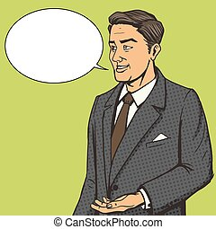 Man in a business suit speaks comic book vector - Man in a...