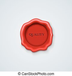 Wax seal red Shiny Red Sealing wax isolated realistic - Wax...