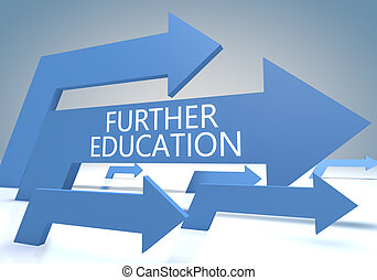 Further Education 3d render concept with blue arrows on a...