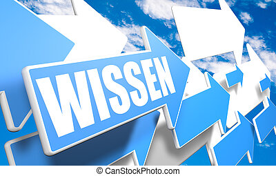 Wissen - german word for knowledge - 3d render concept with...