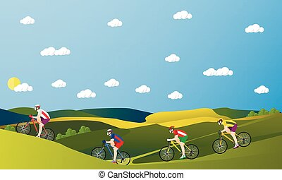 Group of bicycle riders on bikes in mountains and park. Biking sport concept cartoon banners. Vector illustration flat style design