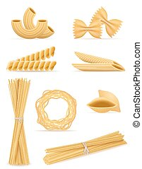 pasta set icons vector illustration isolated on white...